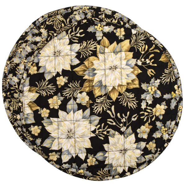 Sweet Pea Linens - Quilted Black, Silver & Gold Christmas Poinsettia Charger-Center Round Placemat (SKU#: R-1015-X4) - Product Image