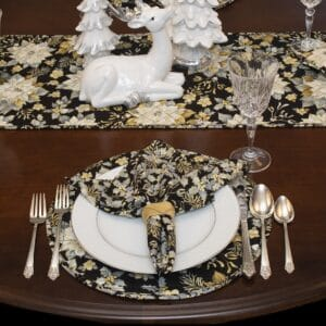 Sweet Pea Linens - Quilted Black, Silver & Gold Christmas Poinsettia Charger-Center Round Placemat (SKU#: R-1015-X4) - Table Setting