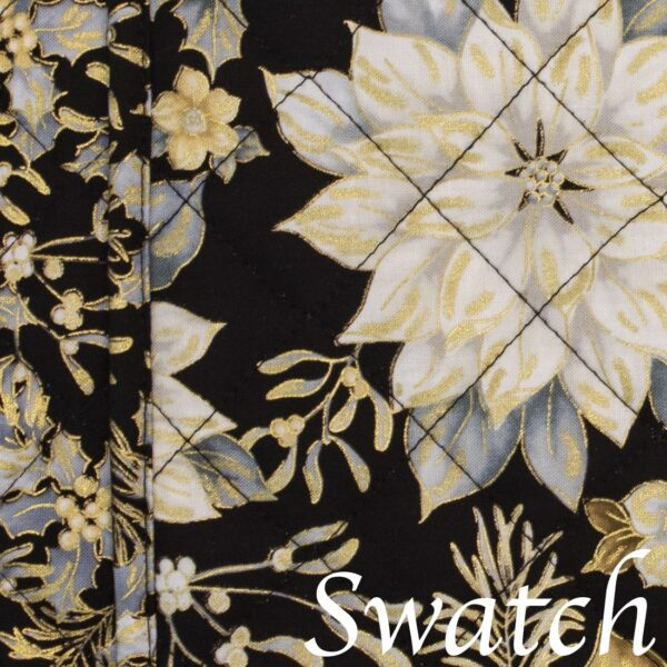 Sweet Pea Linens - Quilted Black, Silver & Gold Christmas Poinsettia Charger-Center Round Placemat (SKU#: R-1015-X4) - Swatch