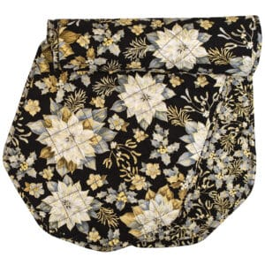 Sweet Pea Linens - Quilted Black, Silver & Gold Christmas Poinsettia 60 inch Table Runner (SKU#: R-1021-X4) - Product Image