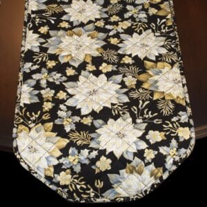 Sweet Pea Linens - Quilted Black, Silver & Gold Christmas Poinsettia 60 inch Table Runner (SKU#: R-1021-X4) - Table Setting