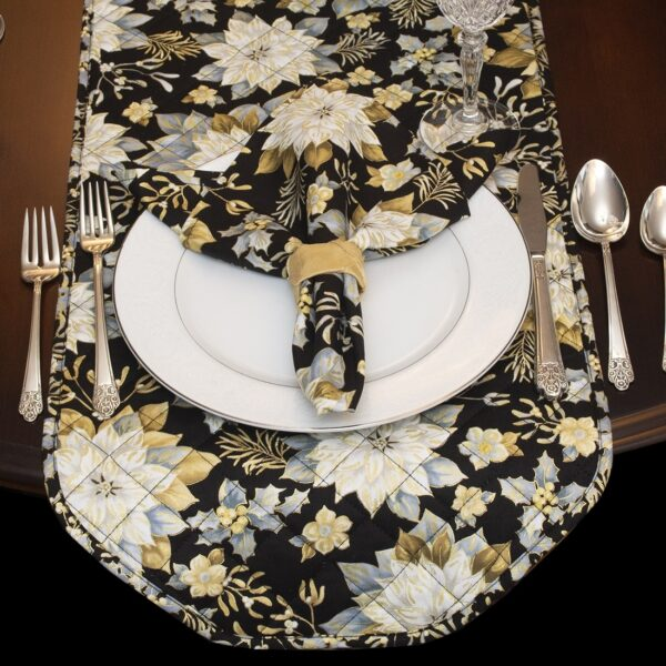 Sweet Pea Linens - Quilted Black, Silver & Gold Christmas Poinsettia 60 inch Table Runner (SKU#: R-1021-X4) - Alternate Table Setting