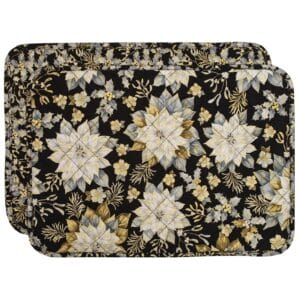 Sweet Pea Linens - Quilted Black, Silver & Gold Christmas Poinsettia Rectangle Placemats - Set of Two (SKU#: RS2-1002-X4) - Product Image