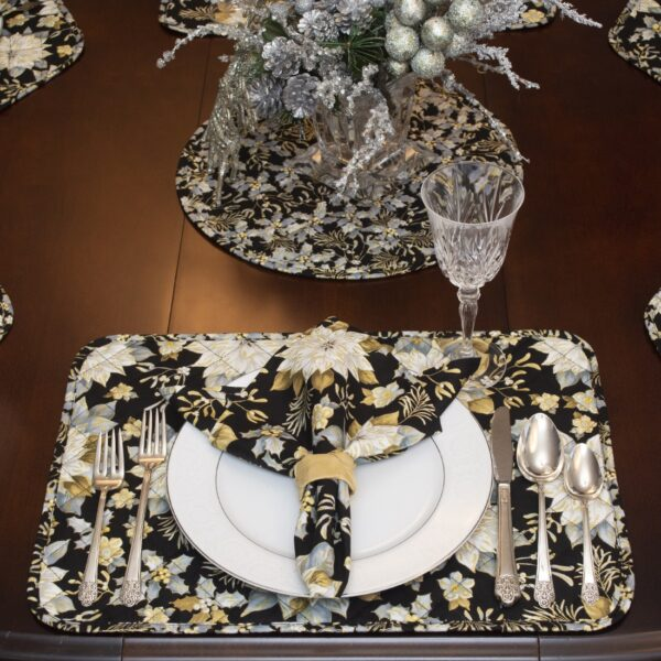 Sweet Pea Linens - Quilted Black, Silver & Gold Christmas Poinsettia Rectangle Placemats - Set of Two (SKU#: RS2-1002-X4) - Alternate Table Setting