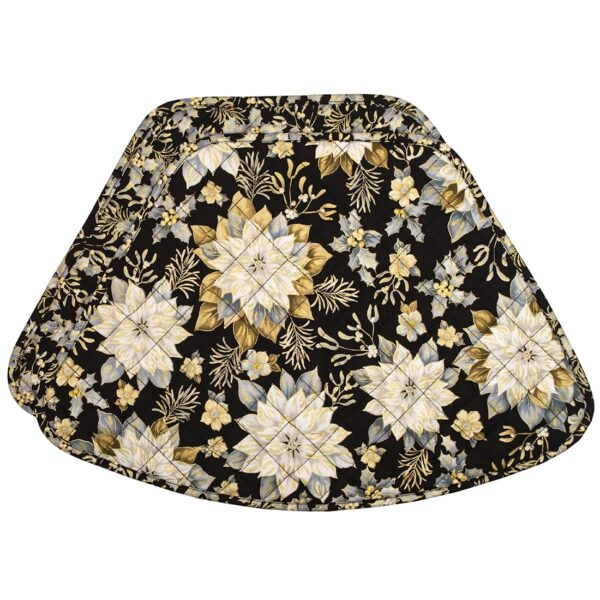 Sweet Pea Linens - Quilted Black, Silver & Gold Christmas Poinsettia Wedge-Shaped Placemats - Set of Two (SKU#: RS2-1006-X4) - Product Image