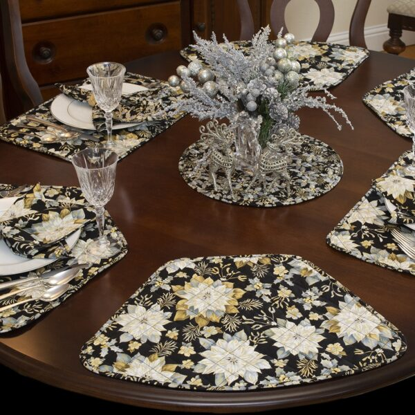 Sweet Pea Linens - Quilted Black, Silver & Gold Christmas Poinsettia Wedge-Shaped Placemats - Set of Two (SKU#: RS2-1006-X4) - Table Setting