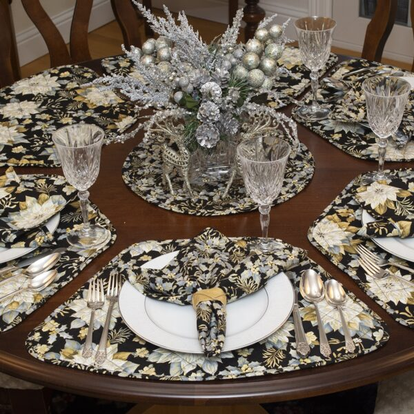Sweet Pea Linens - Quilted Black, Silver & Gold Christmas Poinsettia Wedge-Shaped Placemats - Set of Two (SKU#: RS2-1006-X4) - Alternate Table Setting