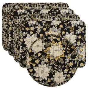Sweet Pea Linens - Quilted Black, Silver & Gold Christmas Poinsettia Rectangle Placemats - Set of Four plus Center Round-Charger (SKU#: RS5-1002-X4) - Product Image