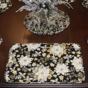 Sweet Pea Linens - Quilted Black, Silver & Gold Christmas Poinsettia Rectangle Placemats - Set of Four plus Center Round-Charger (SKU#: RS5-1002-X4) - Table Setting