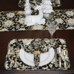 Quilted Black, Silver & Gold Christmas Poinsettia Table Linen Collection