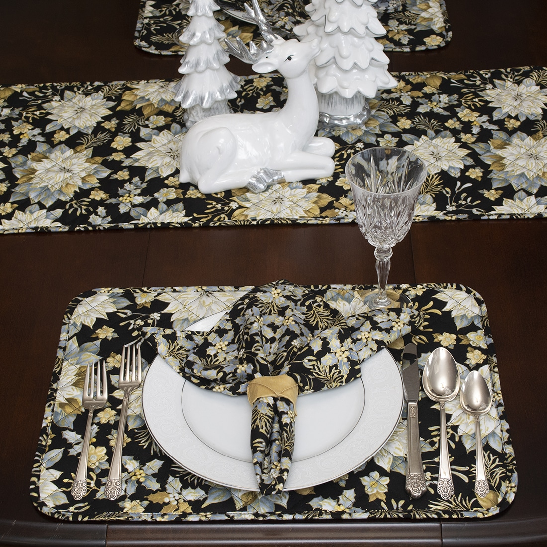Sweet Pea Linens - Quilted Black, Silver & Gold Christmas Poinsettia Rectangle Placemats - Set of Four plus Center Round-Charger (SKU#: RS5-1002-X4) - Alternate Table Setting