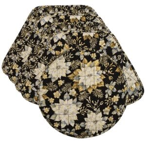 Sweet Pea Linens - Quilted Black, Silver & Gold Christmas Poinsettia Wedge-Shaped Placemats - Set of Four plus Center Round-Charger (SKU#: RS5-1006-X4) - Product Image