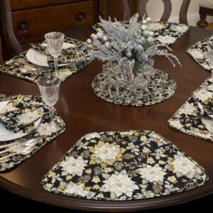 Sweet Pea Linens - Quilted Black, Silver & Gold Christmas Poinsettia Wedge-Shaped Placemats - Set of Four plus Center Round-Charger (SKU#: RS5-1006-X4) - Table Setting