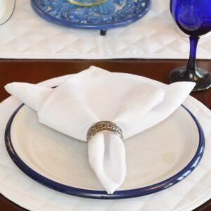 Sweet Pea Linens - Solid White Rolled Hem Jacquard Cloth Napkin (SKU#: R-1010-Y1) - Table Setting