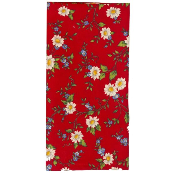 Sweet Pea Linens - Red Daisy Rolled Hem Cloth Napkin (SKU#: R-1010-Y42) - Product Image