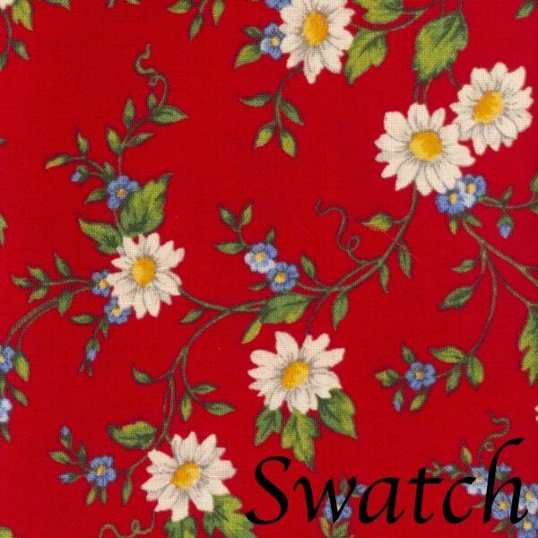 Sweet Pea Linens - Red Daisy Rolled Hem Cloth Napkin (SKU#: R-1010-Y42) - Swatch