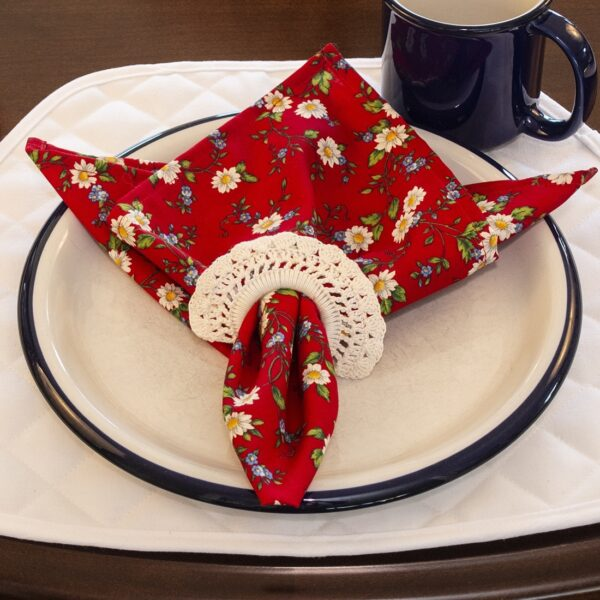 Sweet Pea Linens - Red Daisy Rolled Hem Cloth Napkin (SKU#: R-1010-Y42) - Alternate Table Setting