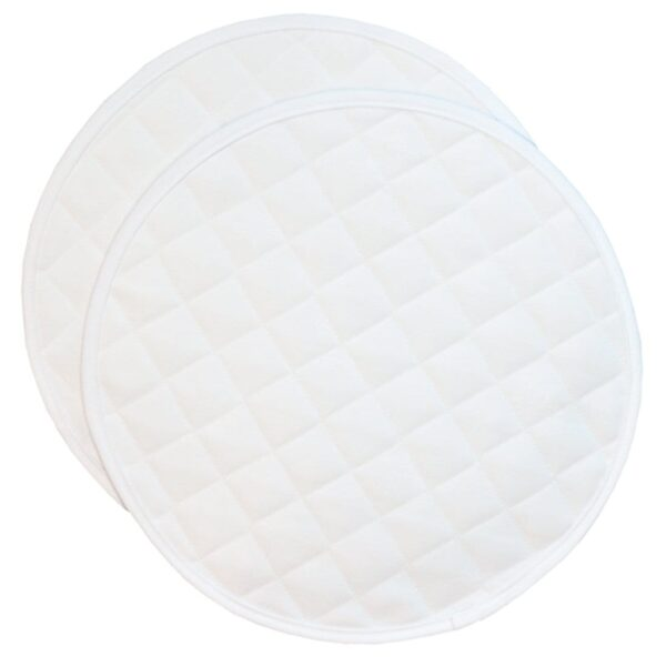 Sweet Pea Linens - Solid White Quilted Jacquard Charger-Center Round Placemat (SKU#: R-1015-Y1) - Product Image