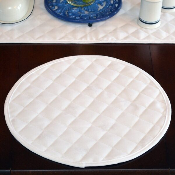 Sweet Pea Linens - Solid White Quilted Jacquard Charger-Center Round Placemat (SKU#: R-1015-Y1) - Table Setting