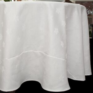 Sweet Pea Linens - Solid White Jacquard 90 inch Round Table Cloth (SKU#: R-1065-Y1) - Product Image