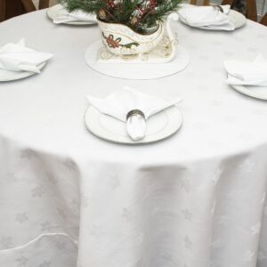 Sweet Pea Linens - Solid White Jacquard 90 inch Round Table Cloth (SKU#: R-1065-Y1) - Table Setting