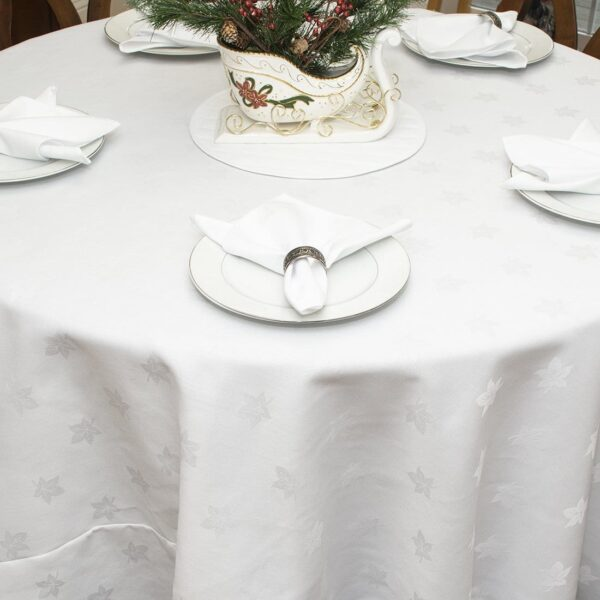Sweet Pea Linens - Solid White Jacquard 90 inch Round Table Cloth (SKU#: R-1065-Y1) - Alternate Table Setting