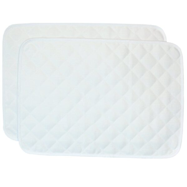 Sweet Pea Linens - Solid White Quilted Jacquard Rectangle Placemats - Set of Two (SKU#: RS2-1001-Y1) - Product Image