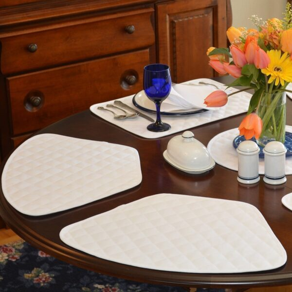 Sweet Pea Linens - Solid White Quilted Jacquard Wedge-Shaped Placemats - Set of Two (SKU#: RS2-1006-Y1) - Table Setting