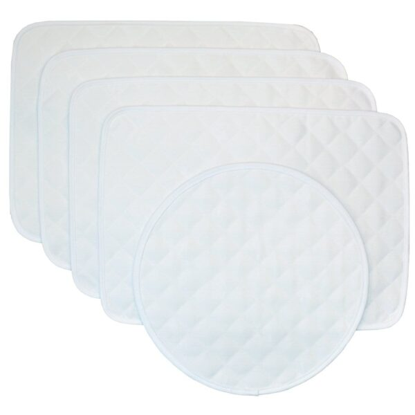 Sweet Pea Linens - Solid White Quilted Jacquard Rectangle Placemats - Set of Four plus Center Round-Charger (SKU#: RS5-1001-Y1) - Product Image