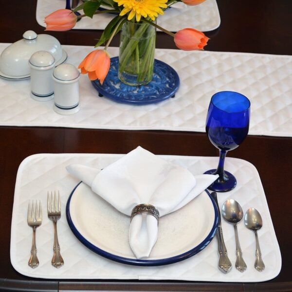 Sweet Pea Linens - Solid White Quilted Jacquard Rectangle Placemats - Set of Four plus Center Round-Charger (SKU#: RS5-1001-Y1) - Alternate Table Setting