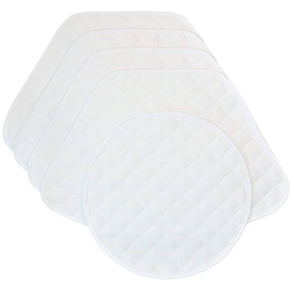 Sweet Pea Linens - Solid White Quilted Jacquard Wedge-Shaped Placemats - Set of Four plus Center Round-Charger (SKU#: RS5-1006-Y1) - Product Image