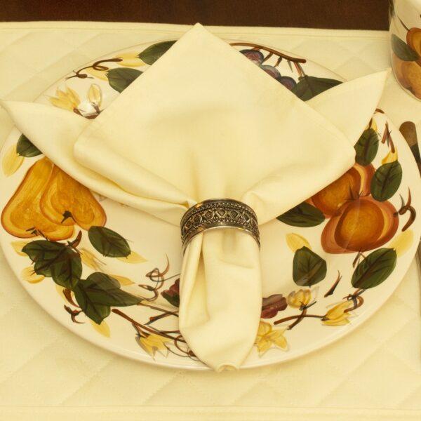 Sweet Pea Linens - Solid Ivory Rolled Hem Jacquard Cloth Napkin (SKU#: R-1010-Y2) - Table Setting