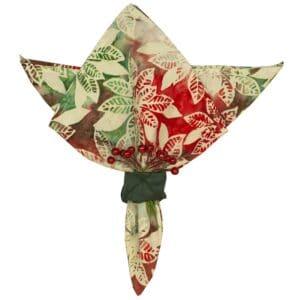 Sweet Pea Linens - Red, Green & Ivory Christmas Poinsettia Batik Cloth Napkin (SKU#: R-1010-Y20) - Product Image