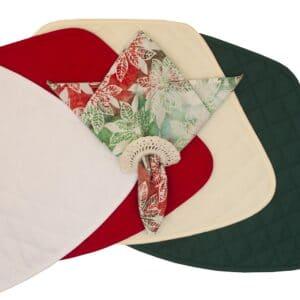 Sweet Pea Linens - Red, Green & Ivory Christmas Poinsettia Batik Cloth Napkin (SKU#: R-1010-Y20) - Table Setting