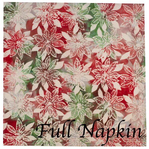 Sweet Pea Linens - Red, Green & Ivory Christmas Poinsettia Batik Cloth Napkin (SKU#: R-1010-Y20) - Swatch