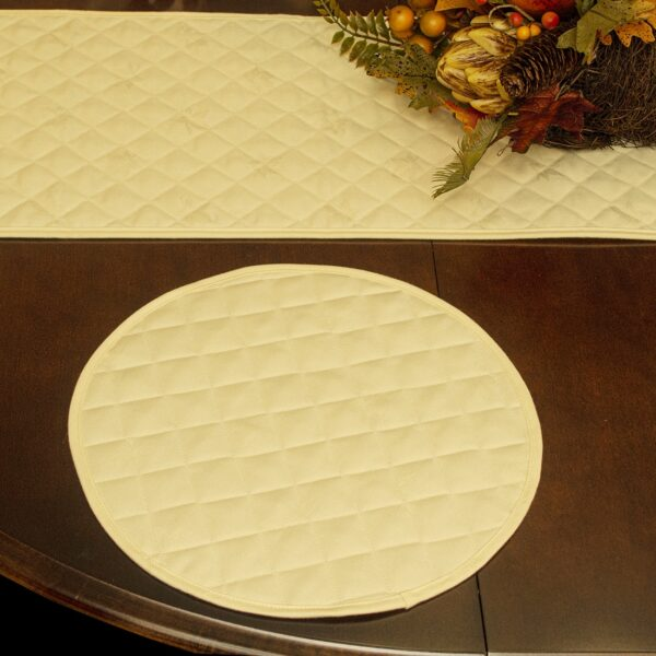 Sweet Pea Linens - Solid Ivory Quilted Jacquard Charger-Center Round Placemat (SKU#: R-1015-Y2) - Table Setting