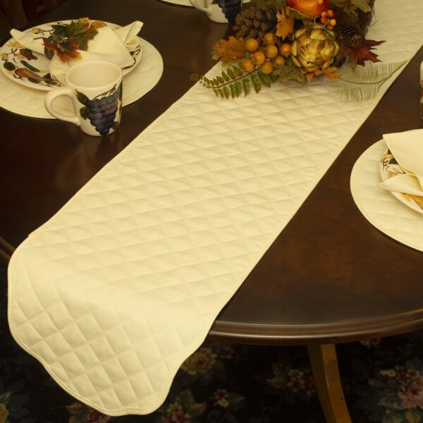 Sweet Pea Linens - Solid Ivory Quilted Jacquard  72 inch Table Runner (SKU#: R-1024-Y2) - Alternate Table Setting