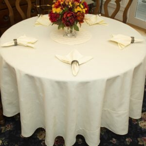 Sweet Pea Linens - Solid Ivory Jacquard 70 inch Round Table Cloth (SKU#: R-1064-Y2) - Table Setting