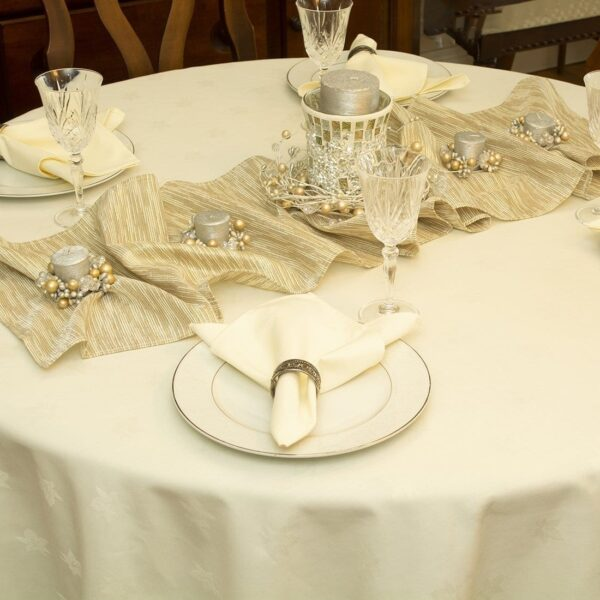 Sweet Pea Linens - Solid Ivory Jacquard 70 inch Round Table Cloth (SKU#: R-1064-Y2) - Alternate Table Setting