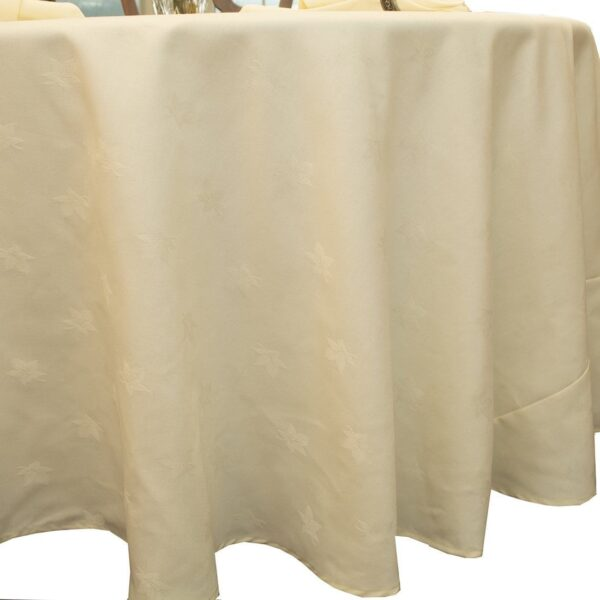 Sweet Pea Linens - Solid Ivory Jacquard 90 inch Round Table Cloth (SKU#: R-1065-Y2) - Product Image
