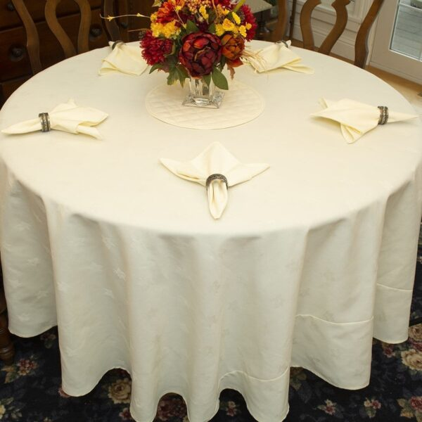 Sweet Pea Linens - Solid Ivory Jacquard 90 inch Round Table Cloth (SKU#: R-1065-Y2) - Table Setting