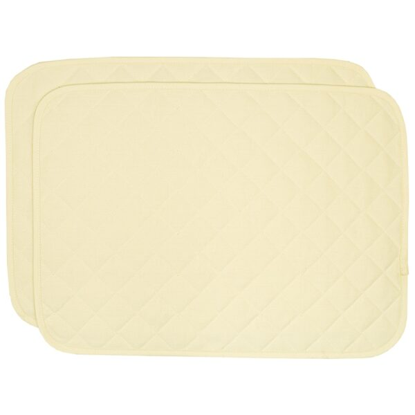 Sweet Pea Linens - Solid Ivory Quilted Jacquard Rectangle Placemats - Set of Two (SKU#: RS2-1001-Y2) - Product Image