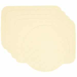 Sweet Pea Linens - Solid Ivory Quilted Jacquard Rectangle Placemats - Set of Four plus Center Round-Charger (SKU#: RS5-1001-Y2) - Product Image