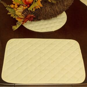 Sweet Pea Linens - Solid Ivory Quilted Jacquard Rectangle Placemats - Set of Four plus Center Round-Charger (SKU#: RS5-1001-Y2) - Table Setting