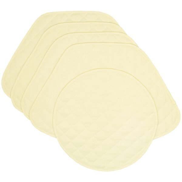 Sweet Pea Linens - Solid Ivory Quilted Jacquard Wedge-Shaped Placemats - Set of Four plus Center Round-Charger (SKU#: RS5-1006-Y2) - Product Image