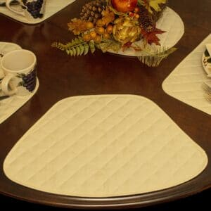 Sweet Pea Linens - Solid Ivory Quilted Jacquard Wedge-Shaped Placemats - Set of Four plus Center Round-Charger (SKU#: RS5-1006-Y2) - Table Setting