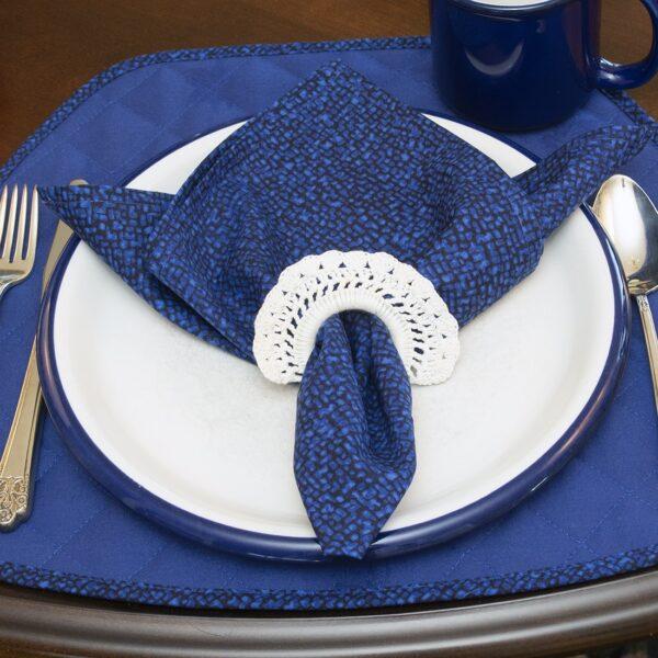 Sweet Pea Linens - Dark Royal Blue Cobblestone Rolled Hem Cloth Napkin (SKU#: R-1010-Y30) - Table Setting