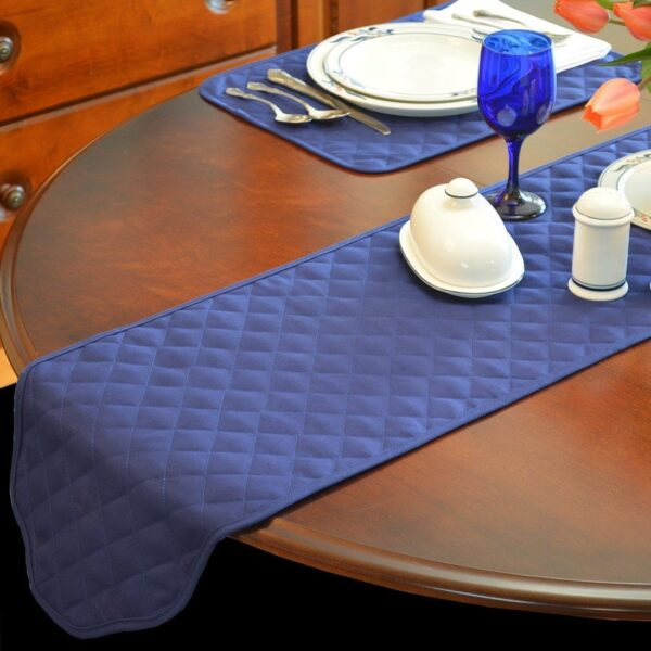 Sweet Pea Linens - Solid Dark Royal Blue Quilted Jacquard 72 inch Table Runner (SKU#: R-1024-Y3) - Table Setting