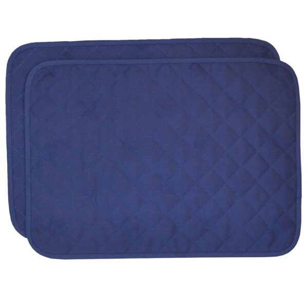 Sweet Pea Linens - Solid Dark Royal Blue Quilted Jacquard Rectangle Placemats - Set of Two (SKU#: RS2-1001-Y3) - Product Image