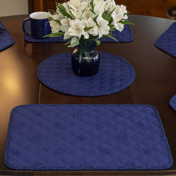 Sweet Pea Linens - Dark Royal Blue Cobblestone Quilted Jacquard Rectangle Placemats - Set of Two (SKU#: RS2-1001-Y30) - Table Setting